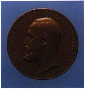 ' Οσκαρ Β'. Βασιλιάς της Σουηδίας και της Νορβηγίας (1872 - 1905), και στη συνέχεια μόνο της Σουηδίας (1905 - 7). Μετάλλιο του 1897 (Αθήνα, Συλλογή Ιω. Μπαστιά).