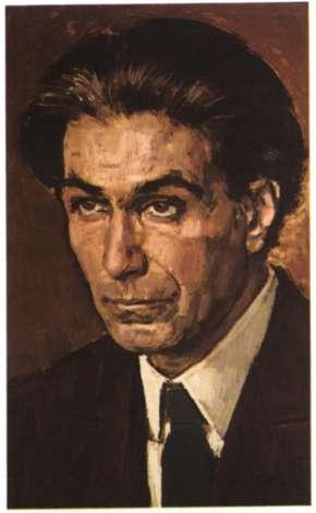 Ο χαράκτης Γιάννης Κεφαλληνός. Ελαιογραφία του Γ. Μόραλη (Αθήνα, Ανωτάτη Σχολή Καλών Τεχνών).